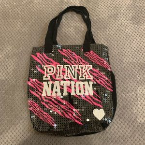 VS PINK Nation Zebra Sequin Tote